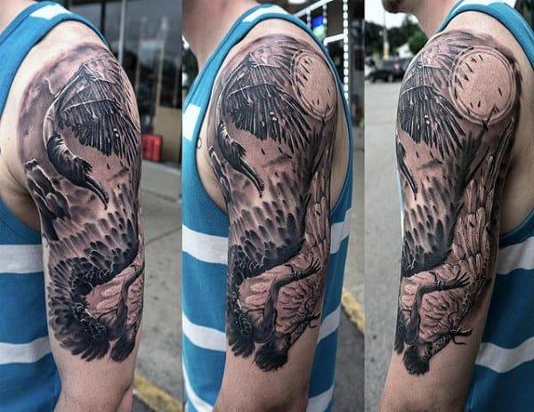 Half Sleeve Tattoo Of Icarus Wings On Gentleman