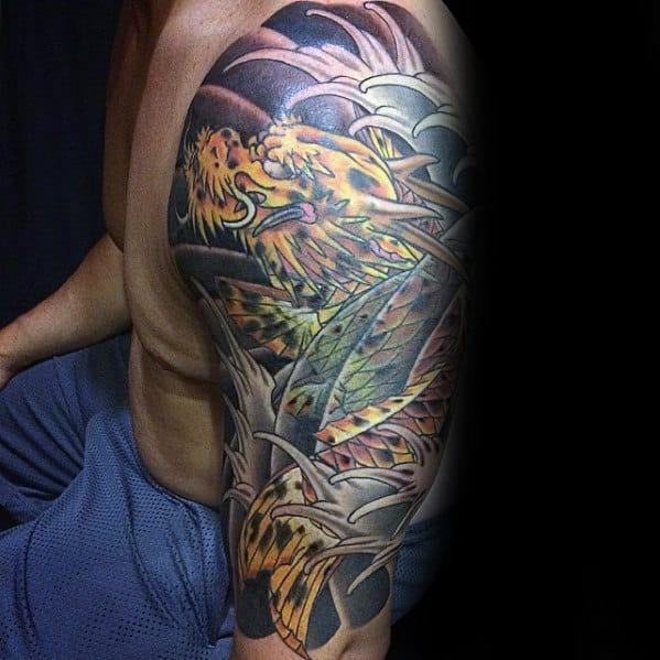 Half Sleeve Tattoo Of Koi Dragon On Man