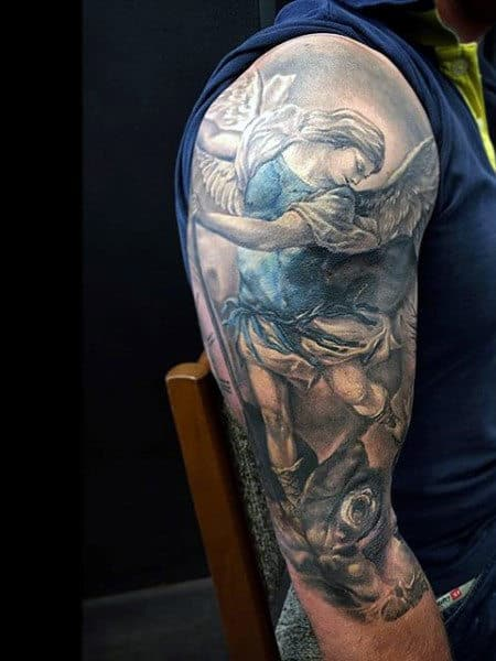 Half Sleeve Tattoo St Micheal On Men