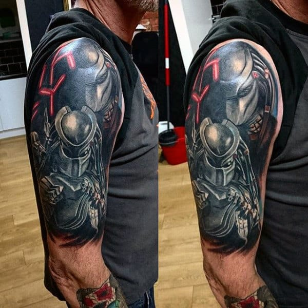 Half Sleeve Tattoo With Alien Vs Predator Themed On Man