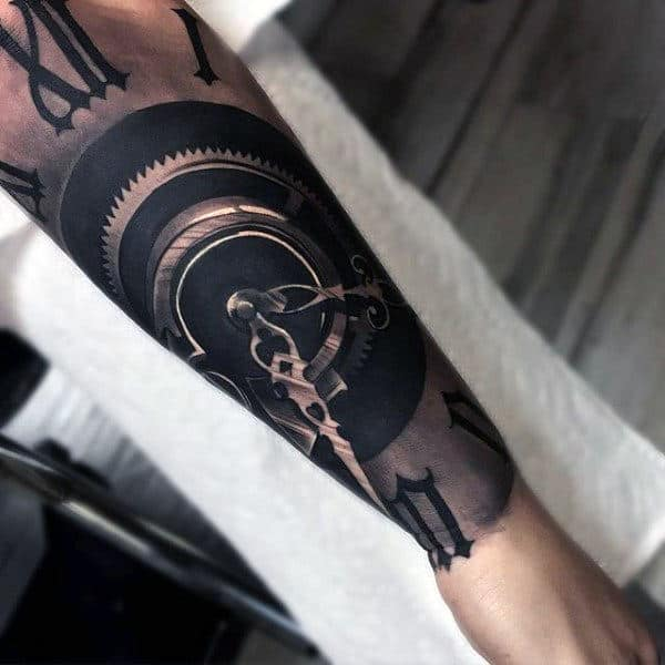 Half Sleeve Tattoos For Men Forearm Clock Hands