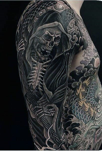Half Sleeve Skeleton Tattoos For Men Ideas