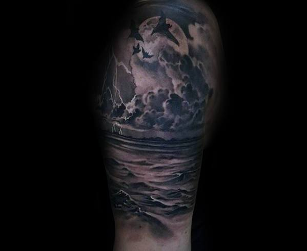 Half Sleeve Thunderstorm Tattoo Designs For Guys