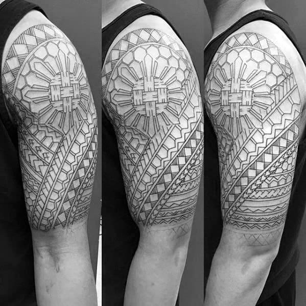 Half Sleeve Tribal Filipino Sun Guys Tattoo Ideas