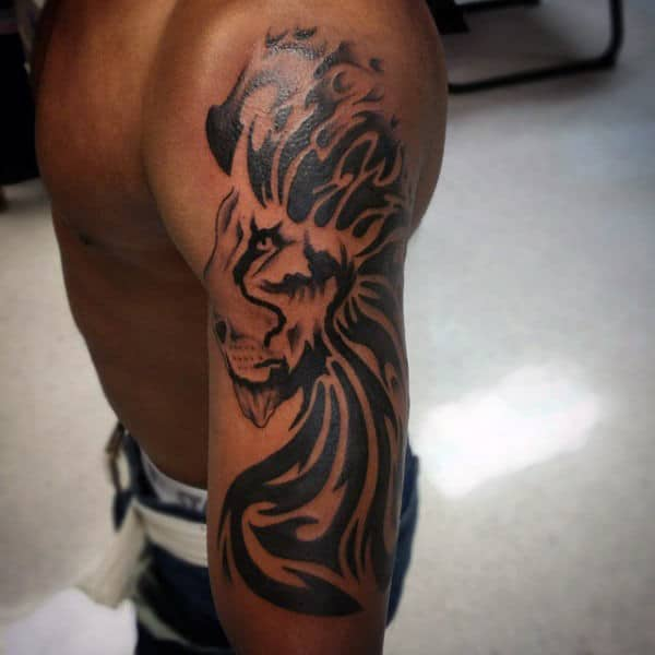 Half Sleeve Tribal Lion Male Tattoos
