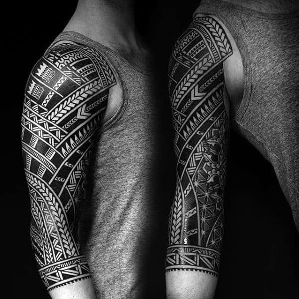 Half Sleeve Tribal Male Tattoos