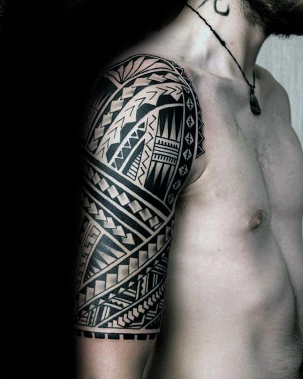 Half Sleeve Tribal Tattoo Designs On Gentleman