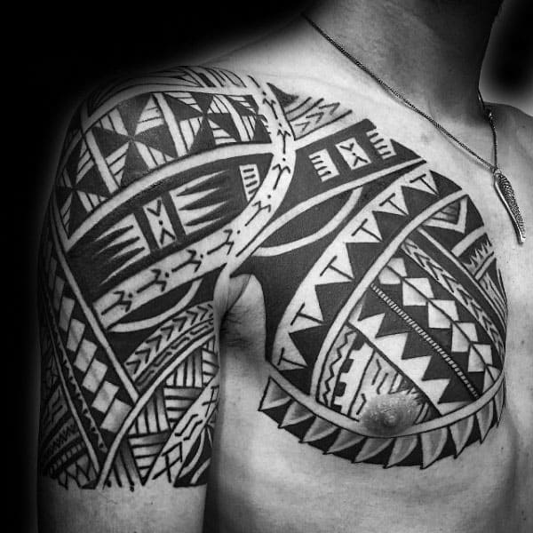 Half Sleeve Tribal Tattoos On Arm And Chest For Men