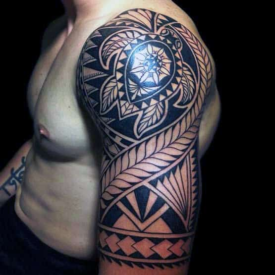 Half Sleeve Tribal Turtle Polynesian Male Tattoo Design Ideas