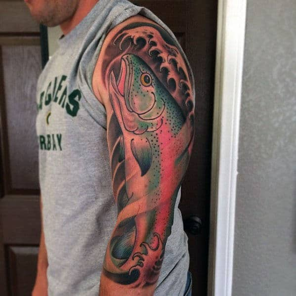 Half Sleeve Trout Tattoo Inspiration For Men
