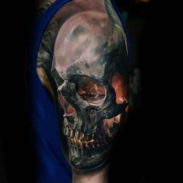 Half Sleeve Unbelievable 3d Glowing Skull Mens Realistic Tattoo Designs