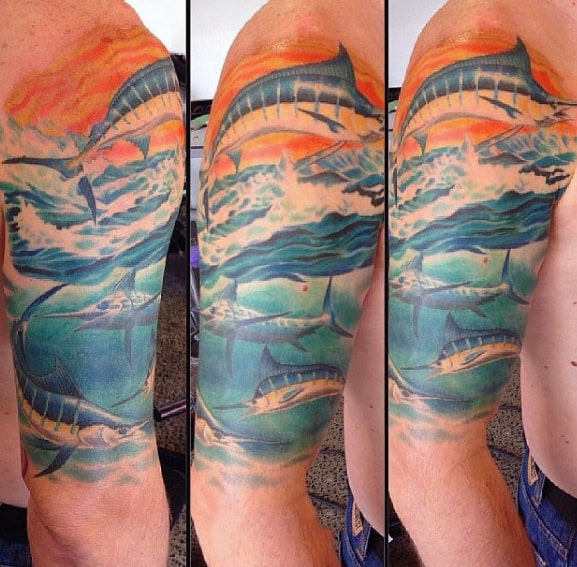 Half Sleeve Underwater Marlin Tattoo Designs For Men