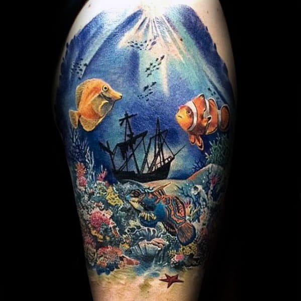 Half Sleeve Unique Mens Shipwreck Tattoos