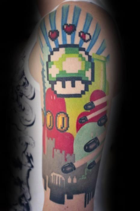 Half Sleeve Video Game 8 Bit Themed Tattoos For Gentlemen