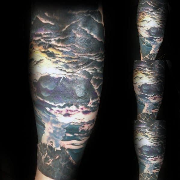 Half Sleeve Volcano Male Tattoo Designs