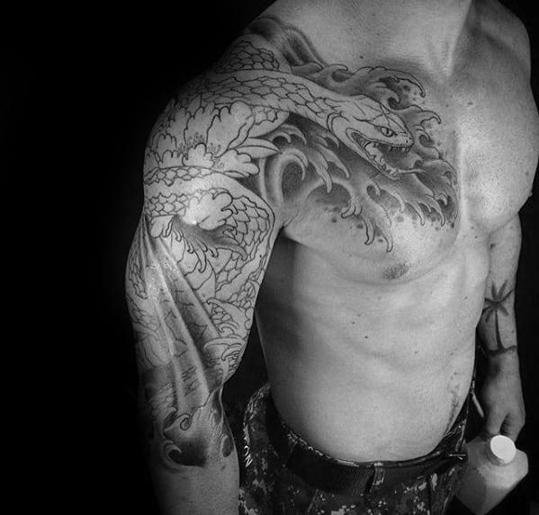 Half Sleeve Water Waves Creative Japanese Snake Tattoos For Men
