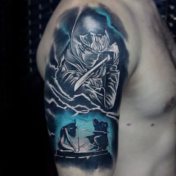 Half Sleeve Watercolor Ninja Mens Tattoos