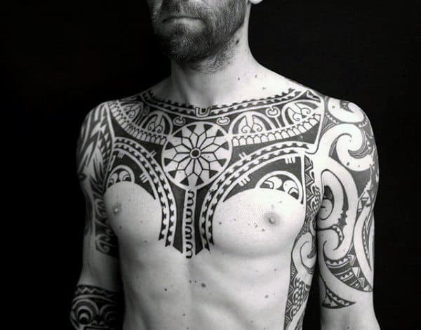 Half Sleeve With Chest Male Polynesian Tribal Tattoo