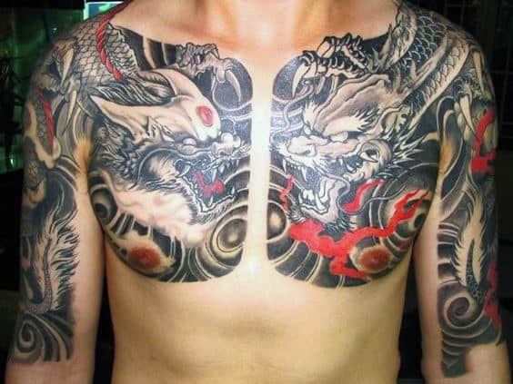 Male Chest Tattoo Gallery: 50 Chinese Dragon Tattoo Designs For Men