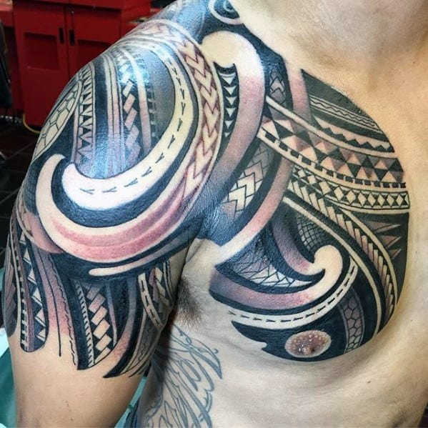 Half Sleeve With Chest Polynesian Awesome Tribal Guys Tattoos