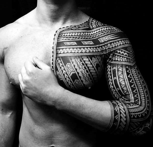 Half Sleeve With Chest Tattoo On Male Samoan Tribal