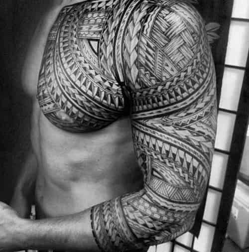 Half Sleeve With Upper Chest Polynesian Tribal Tattoos For Gentlemen