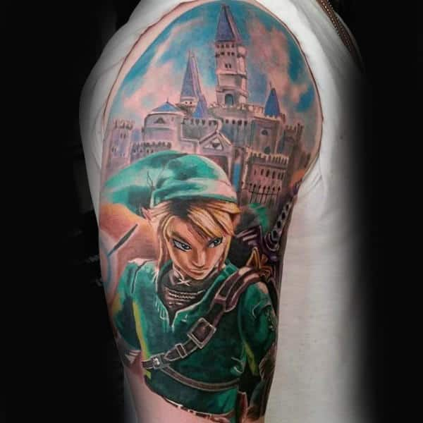 Half Sleeve Zelda Castle Mens Tattoo Ideas