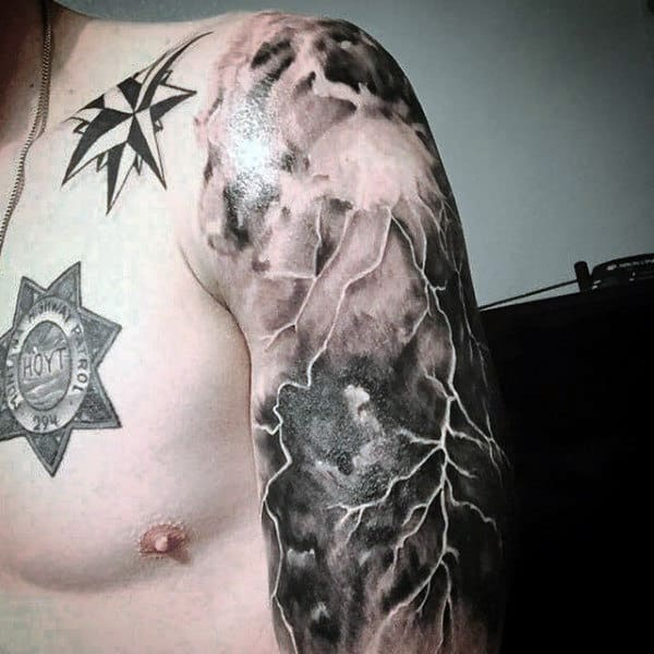 Half Sleve Cloud And Lightning Tattoo For Men
