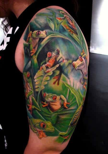 Half Sleve Frog Themed Tattoo On Gentleman