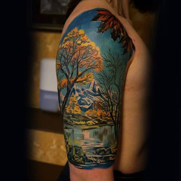 75 tree sleeve tattoo designs for men ink ideas with for Realistic tree tattoos