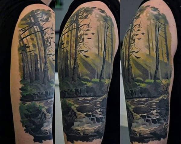half-tree-sleeve-mens-nature-forest-tattoo-designs