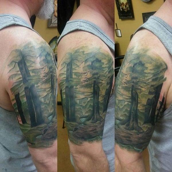 Half Tree Sleeve Mens Watercolor Tattoo Ideas