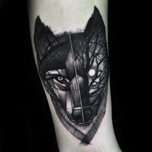 Half Wolf Half Forest Mens Forearem Tattoo Ideas