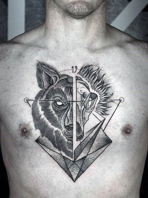 Half Wolf Half Skull Guys Geometric Middle Of Chest Tattoo Ideas