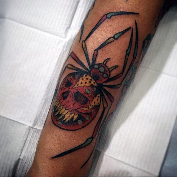 Halloween Themed Spider Tattoo On Forearms For Men