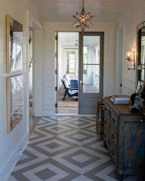 Hallway Grey And White Home Painted Floor Ideas