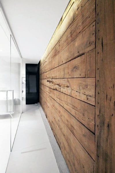 Hallway Natural Old Barn Wood Wall Ideas
