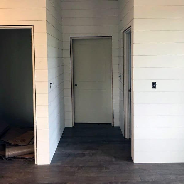 Hallway White Wood Painted Shiplap Walls