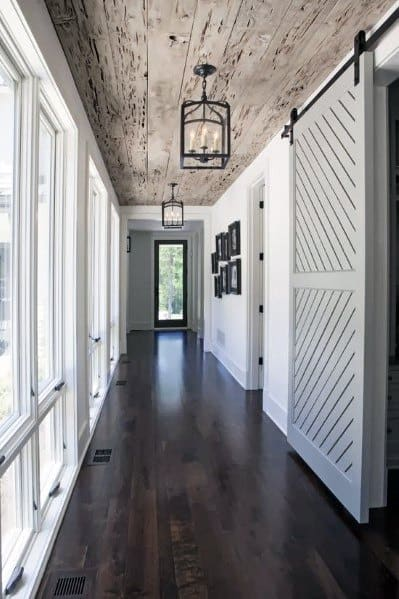Hallway Wood Ceiling Ideas With Rustic Boards