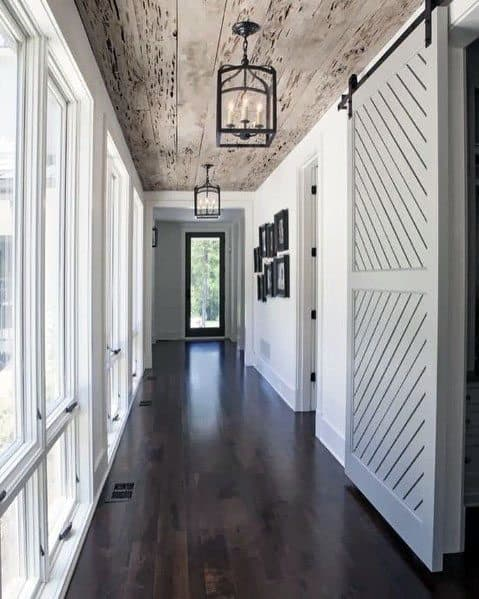 Hallway Wood Rustic Ceiling Ideas