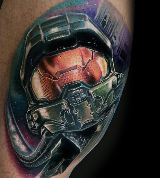 Halo Upper Arm Realistic Guys Video Game Tattoo Designs