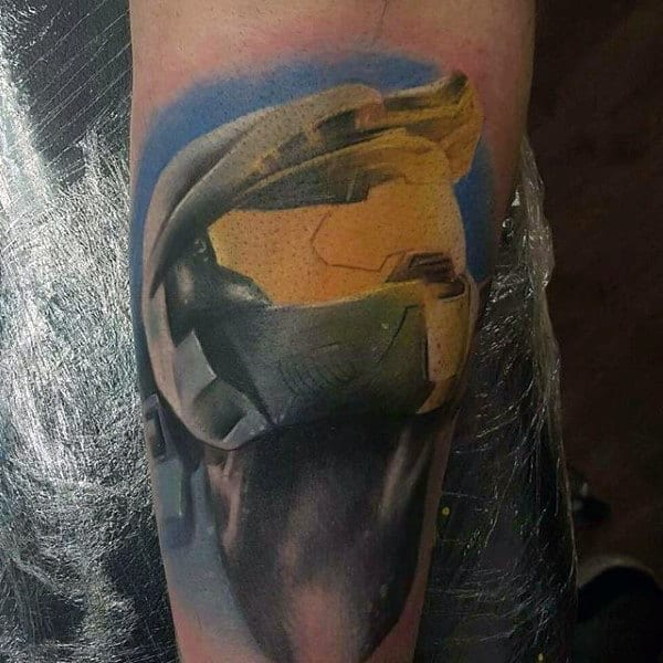 Halo Watercolor Video Game Shaded Male Tattoos