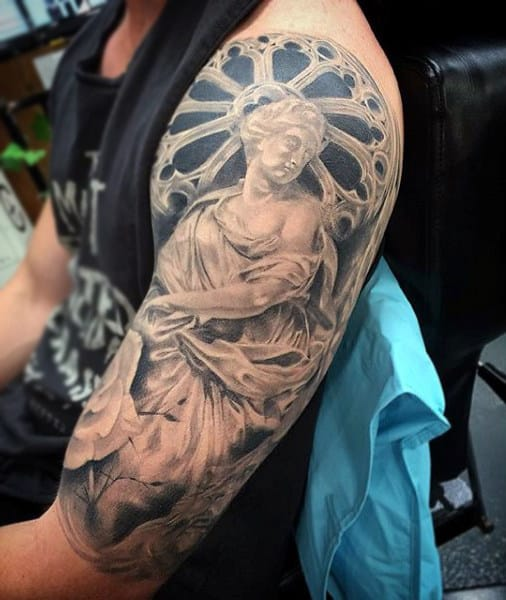 Haloed Disk Around Lord Religious Tattoo Male Sleeve