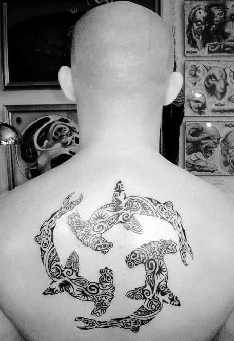 Hamerhead Sharks Mens Tribal Cool Upper Back Tattoo Designs