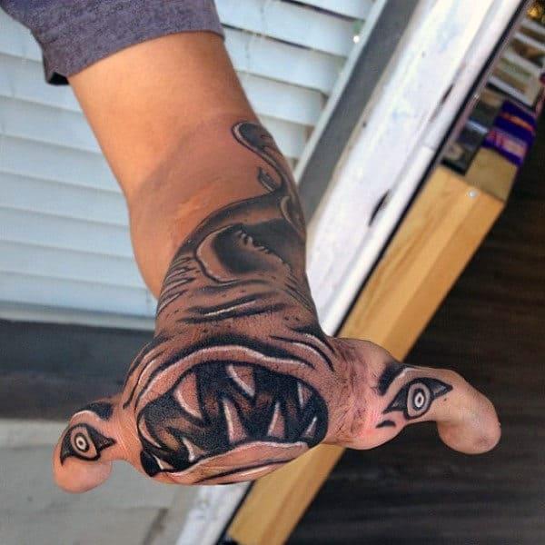 Hammerhead Shark Teeth Hand Tattoo For Men