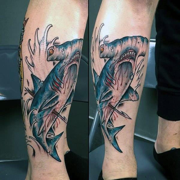 Hammerhead Shark With Spear Mens Leg Tattoo