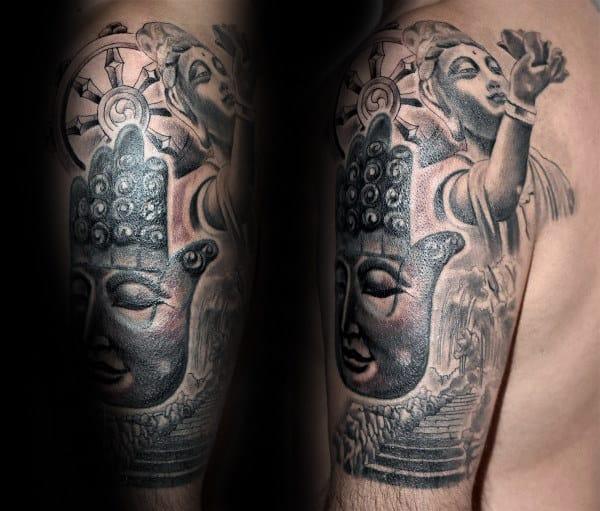 Hamsa Dharma Wheel Mens Half Sleeve Tattoos