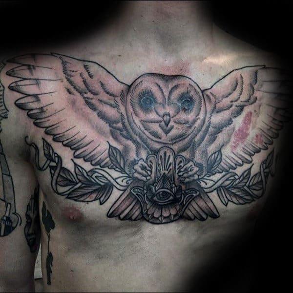 Hamsa With Barn Owl Mens Upper Chest Tattoo