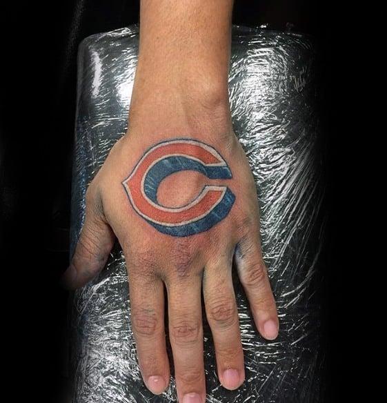 Hand 3d Mens Chicago Bears Tattoo Design Ideas