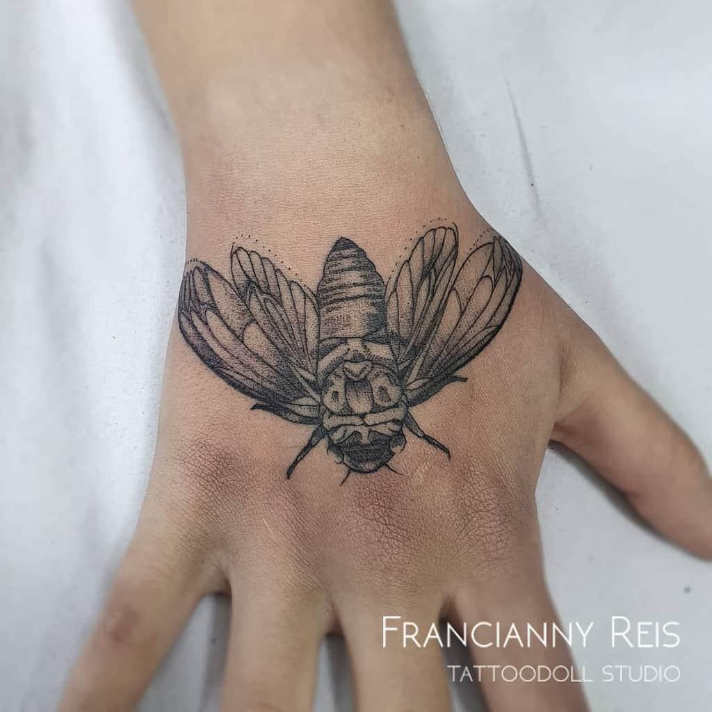 hand Cicada Tattoos franciannyreis